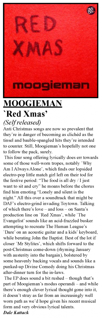 Review of Moogieman Red Xmas EP in Oxford's Nightshift magazine, December 2017
